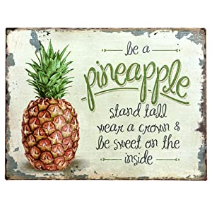 "Barnyard Designs Be A Pineapple Retro Vintage Tin Bar Sign Country Home Decor 10"" x 13"""