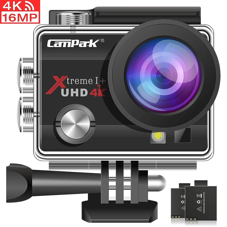 Campark ACT74 Cámara Deportiva 4k Ultra HD 16MP (WiFi, 170° Ángulo Ajustable Lens, Camara Acuatica de 30M con 2 Baterías y Accesorios Kit Compatible ...