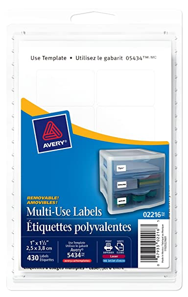 Avery 2216 white removable print or write labels 1 inch x 1 12 avery 2216 white removable print or write labels 1 inch x 1 12 inch pack of 430 amazon office products saigontimesfo