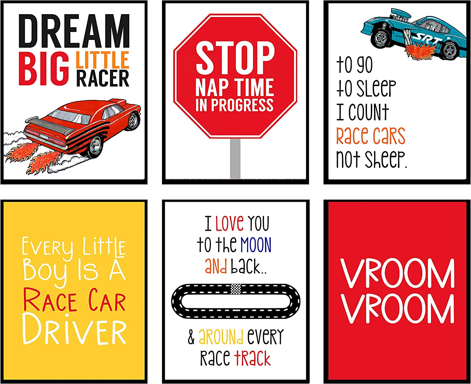 Silly Goose Gifts Dream Big Little Racer - Art Print Design Wall Room Home Bathroom Decor Wheel Set - Bright Race Hot Car (6)