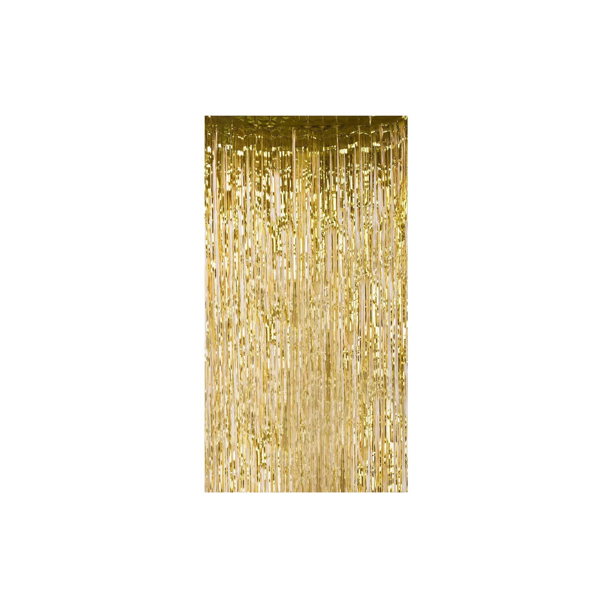 Lelinta 3.28X9.84ft Metallic Tinsel Foil Shimmer Fringe Rain Curtains Backdrop Curtain for Wedding Party Birthday Photo Background Decorations (Gold-2 PCS)