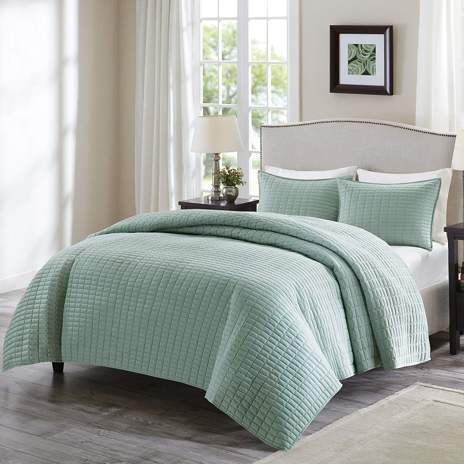 Comfort Spaces Kienna 3 Piece Quilt Coverlet Bedspread Ultra Soft Hypoallergenic Microfiber Stitched Bedding Set, Full/Queen, Seafoam