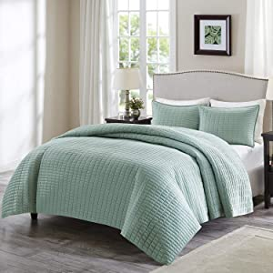 Comfort Spaces Kienna 3 Piece Quilt Coverlet Bedspread Ultra Soft Hypoallergenic Microfiber Stitched Bedding Set, Full/Queen, Seafoam