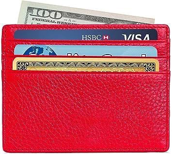 Zhoma RFID Blocking Genuine Leather Minimalist Front Pocket Wallet Unisex Slim Card Holders
