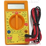 Haoyue Digital LCD Multimeter For AC/DC Voltage, Ammeter, Current Detector With Test Leads (Yellow)