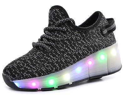 Kinder Junge Skateboard Schuhe Turnschuhe Sportschuhe LED Schuhe mit Rollen  Farbwechsel Sneaker Skateboard Rollschuhe