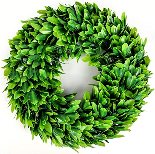 Lasperal 17 Artificial Green Leaves Wreath Eucalyptus Wreath Boxwood Wreath Round Green Wreath Outdoor Green Wreath Front Door Wall Window Party Décor Lasperal Kitchen Dining Amazon Com