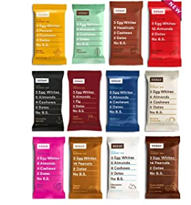 RXBAR Real Food Protein Bar, Variety Pack, Gluten-free, 1.83 oz, (Variety, 12 Count)