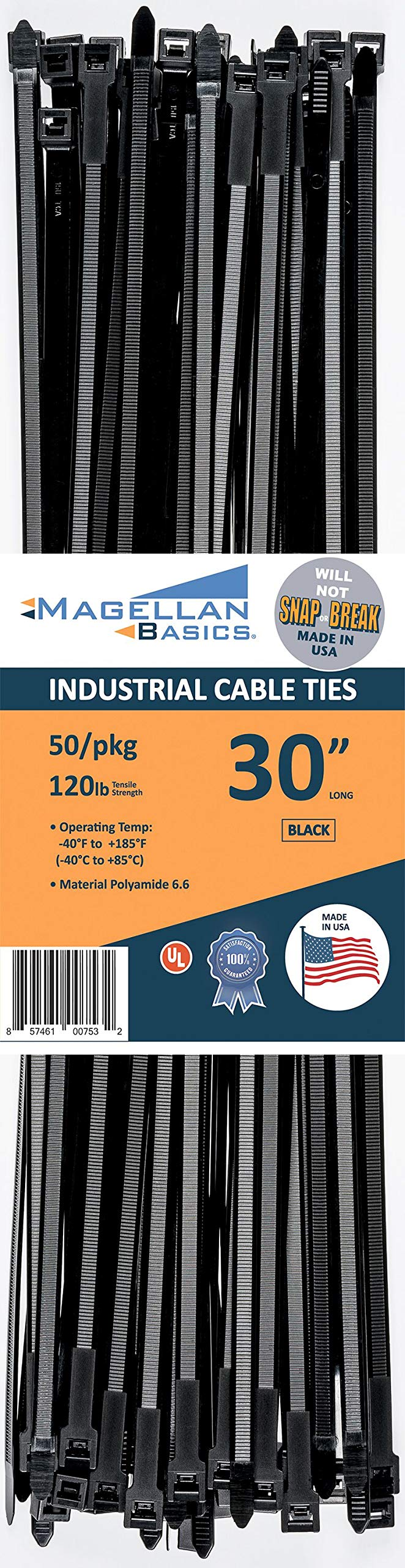 50 Pack Cable Zip Ties Heavy Duty Made in The USA 30 inch, Black