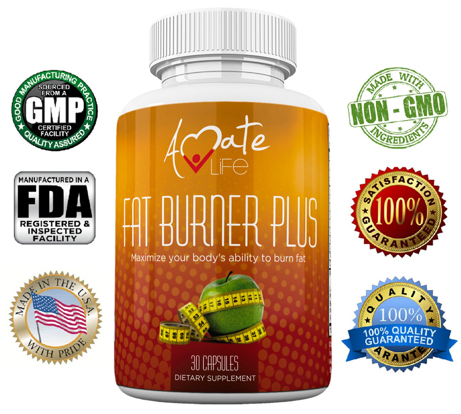 Amate Life Fat Burner Plus Natural Supplement -Strong Combination of Fat Burning Ingredients -Lose Weight & Increase Metabolism-Control Appetite-Stimulant Free-Non GMO Dietary Supplement