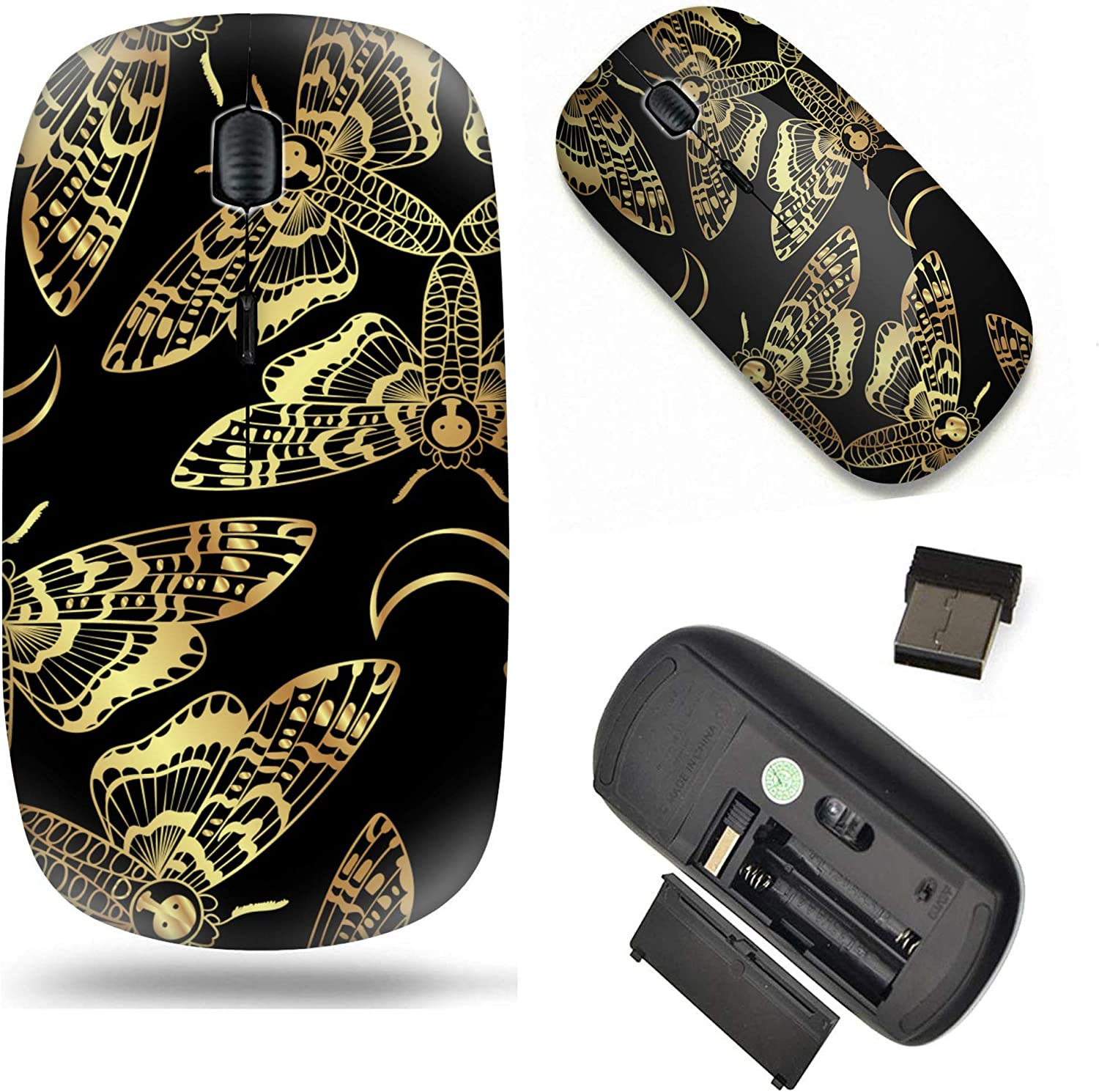 Computer PC Golden Deaths Head Hawk Moth Unique Pattern Optical Mice Mobile Wireless Mouse 2.4G Portable for Notebook Laptop