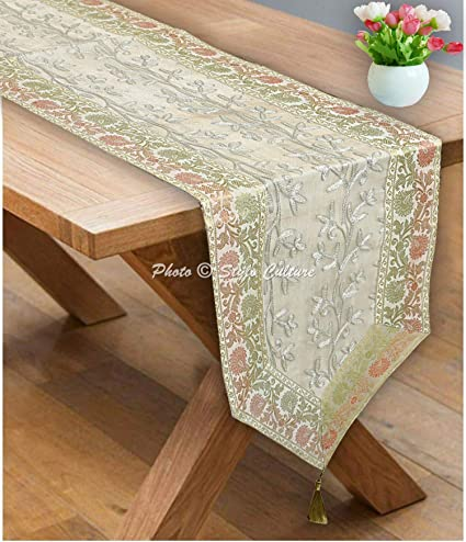 Buy Stylo Culture White Gold Table Runner Coffee Table Mat 6 Feet
