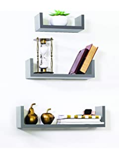 Adorn Home Essentials Floating Shelves Set Of 3 With Modern U Shape And  Durable Design By