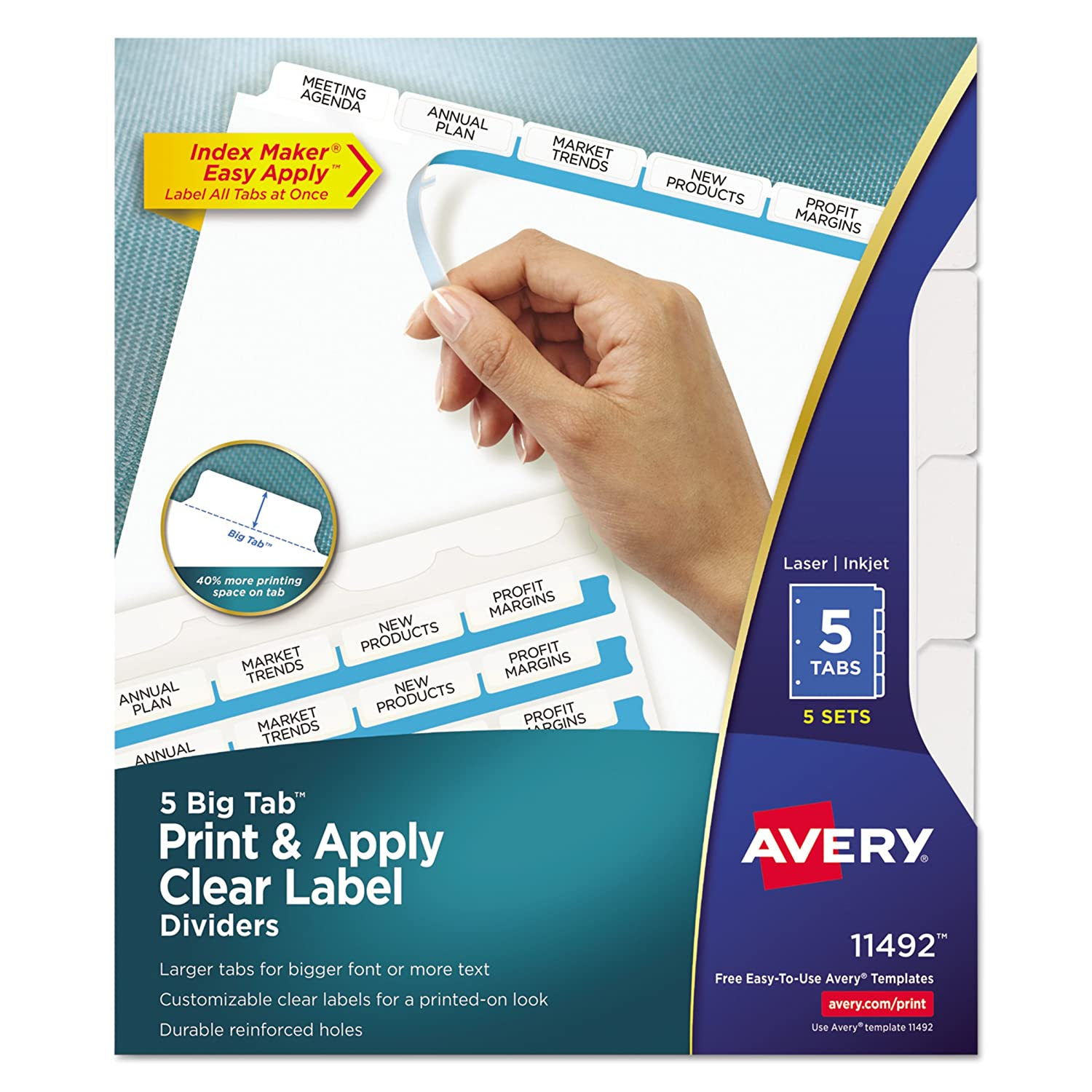 amazoncom avery big tab dividers print apply clear label index maker easy apply strip 5 tab dividers 1 set 11490 binder index dividers office