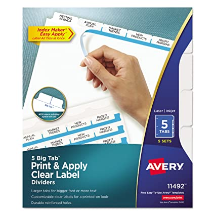 Avery Big Tab Dividers Print Apply Clear Label Index Maker Easy Strip