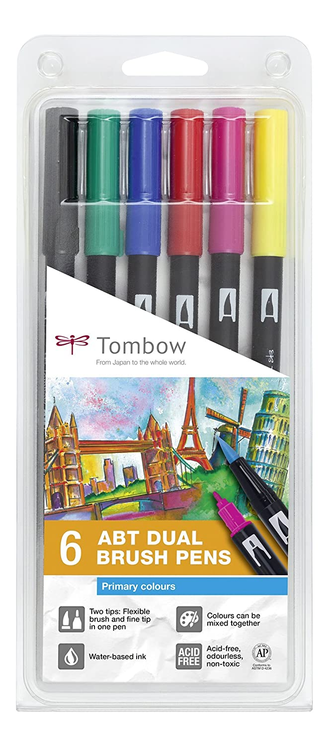 Tombow punta Dual Brush - Estuche 6 rotuladores doble punta Tombow pincel, color muticolor 17aeb4