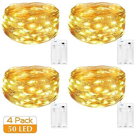 Kolpop LED Lichterkette Batterie [4 Pack], Lichterketten für Zimmer, 5m 50er Micro LED Lichterkette Draht Innen Batteriebetri