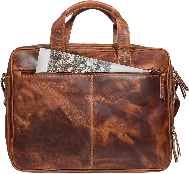 braun STILORD Walt Vintage Aktentasche Leder Herren Damen Lehrertasche XL gro/ß B/üro Business Umh/ängetasche f/ür 15,6 Zoll Laptop Echt Leder Farbe:dunkel