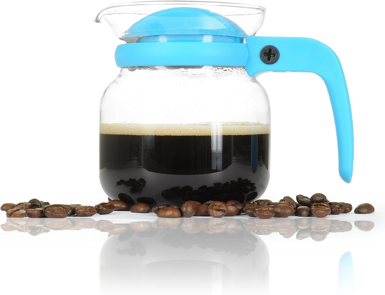 YOUZiNGS Café de Jarra pequeña de Cristal 350ML (0,35l) Microondas. para líquido con Giratorio de plástico Tapa y Agujero para Verter, Té de Jarra y Cristal de Color: Azul,–Marca
