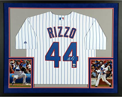 ade5c93c9 Anthony Rizzo Chicago Cubs SM Deluxe Framed Autographed Majestic White  Replica Jersey - Fanatics Authentic Certified