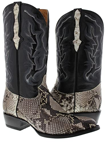 4b9c2f4c5e3 Cowboy Professional - Men's Natural Python Belly Snake Skin Cowboy Boots  Round