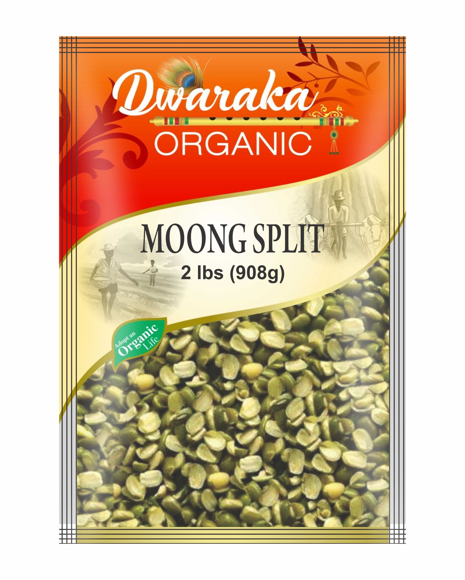 Dwaraka Organic Moong Bean Wash Split Dal with Skin Lentil USDA Organic (2 lbs / 908 g)