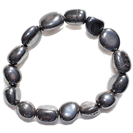 122decb75331d Charged Natural Hematite Crystal Bracelet Tumble Polished & Stretchy