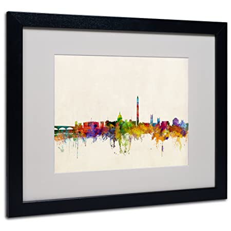 Washington DC Skyline by Michael Tompsett, White Matte, Black Frame 16×20-Inch