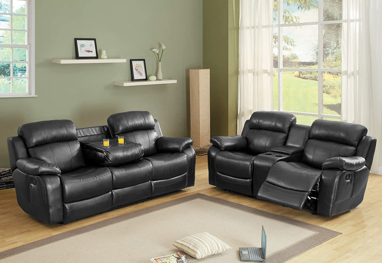 Elegant Amazon.com: Homelegance Marille Reclining Sofa W/ Center Console Cup  Holder, Black Bonded Leather: Kitchen U0026 Dining