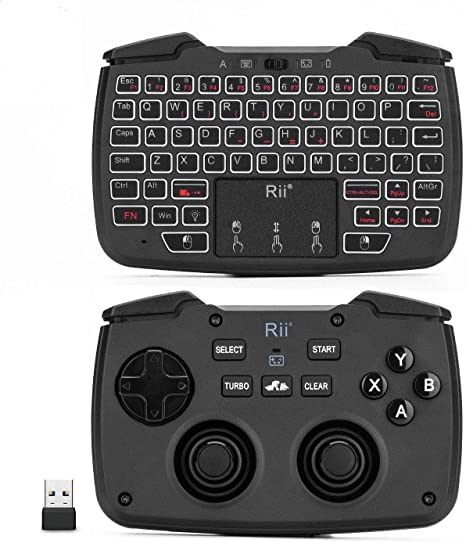 2.4G Mini Wireless Keyboard with Touchpad Mouse,Backlit Portable Handheld Keyboard with Remote Control,Rechargeable Backlight Remote for Gaming Laptop,PC,Google Android TV,Xbox,PS4 English