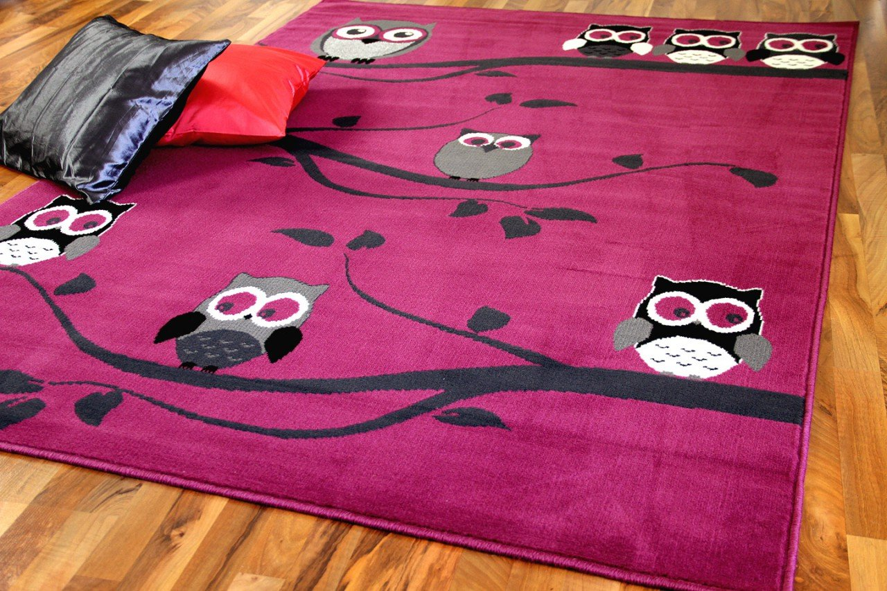 Trendline Kids - tapis pour enfant - chouette rose vif - 5 tailles disponibles
