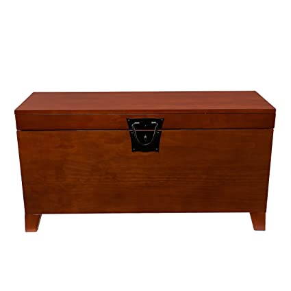 Southern Enterprises Pyramid Storage Trunk Cocktail Table, Mission Oak  Finish