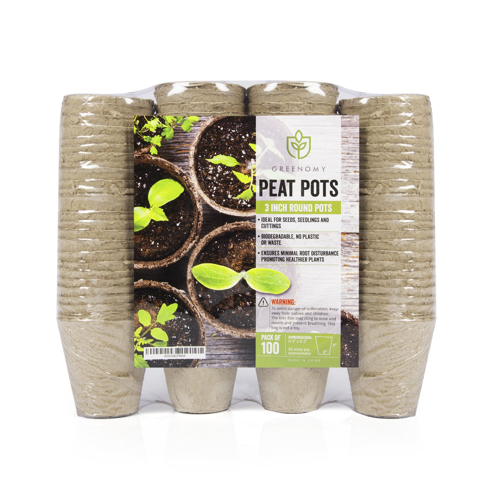 Greenomy 3'' Peat Pots Pack of 100|Seed Starter Kit| for Seedlings, Flowers, Vegetables|Eco-Friendly & 100% Biodegradable by Greenomy