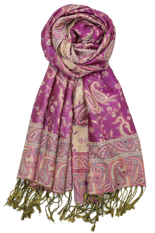 Achillea Soft Silky Reversible Paisley Pashmina Shawl Wrap Scarf w/Fringes 80 x 28 ACHI-2E3-12
