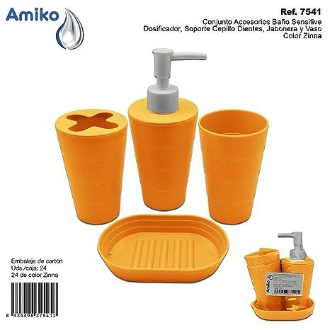Conjunto Accesorios Baño Sensitive Zinna (Dosificador, Soporte Cepillo Dientes, Jabonera y Vaso)