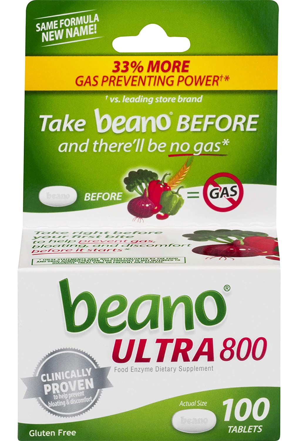beano Ultra 800 Gas Prevention | Bloating Relief | 100 Tablets | Packaging  May Vary