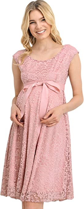 Hello Miz Maternity Floral Lace Baby Shower Party Cocktail Dress With Ribbon Waist At Amazon Women S Clothing Store