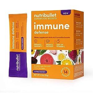 NutriBullet Superfood Boosts Immune Defense (with adaptogenic rishi mushrooms, vitamin C, Zinc, Echinacea), Citrus Berry, 14 Stick Packs, Single Serve