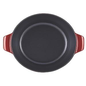 Anolon 51819 Cast Iron Covered Casserole, 4-Quart, Paprika Red