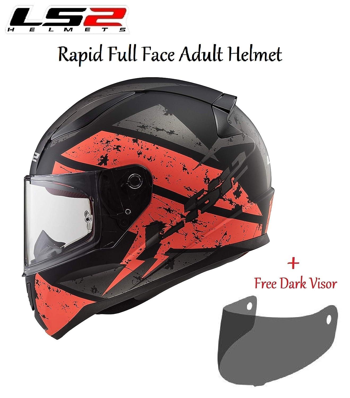 FREE DARK VISOR MOTORCYCLE LS2 FF353 RAPID DEADBOLT MATT BLACK ORANGE FULL FACE HELMET Motorbike Scooter Rider On Road Track Racing Touring Urban Sports ECE Certified Helmet