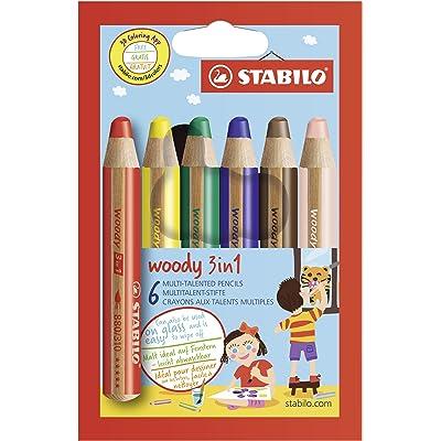 STABILO Woody - Lápiz de color multifuncional - Lápiz de color, cera y acuarela - Estuche con 6 colores