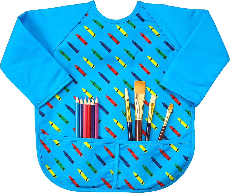 Daoba Kids Painting Apron School Long Sleeves Waterproof Bibs Smock Cartoon Art Craft Play Coverall for Children Boys Girls