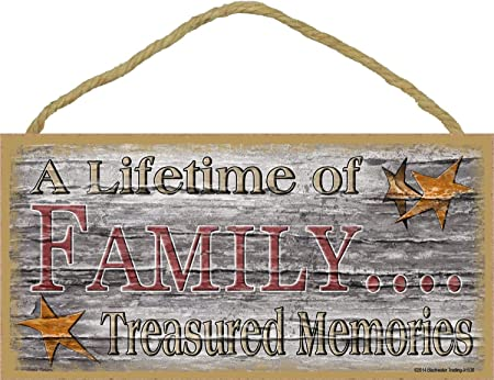 Family Treasured Memories Cartel de Pared Madera Placa ...