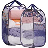 Mesh Pop-up Laundry Hamper, Folding Laundry Basket Tall Clothes Hamper with Durable Handles, 2 Pack