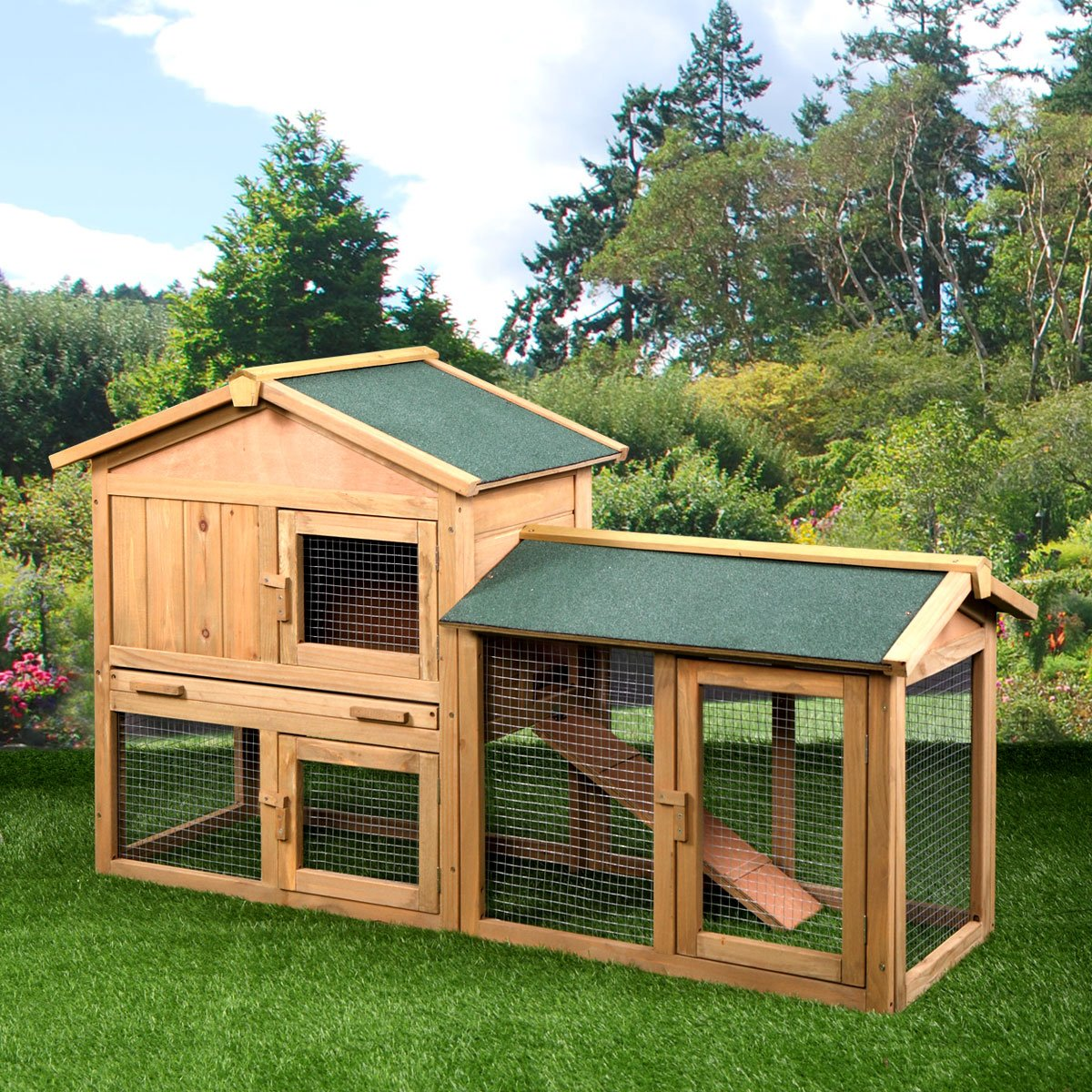 P PURLOVE Wood Bunny Hutch 54'' Large 2 Story Outdoor Bunny House with Removable Tray & Ramp, Backyard Garden Rabbit Cage/Guinea Pig House/Chicken Coop Nesting Box for Small Animals by P PURLOVE (Image #2)