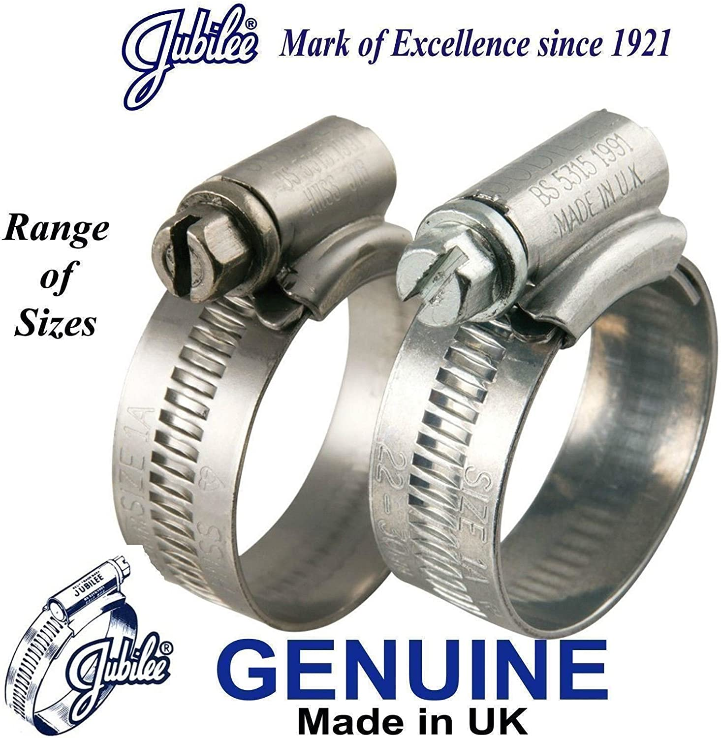Jubilee/® Clip Marine Grade Stainless Steel SS316 Hose Clamp 35-50mm x 2