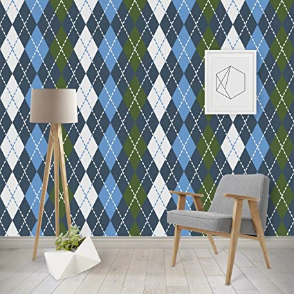 RNK Shops Blue Argyle Wallpaper Surface Covering Water Activated