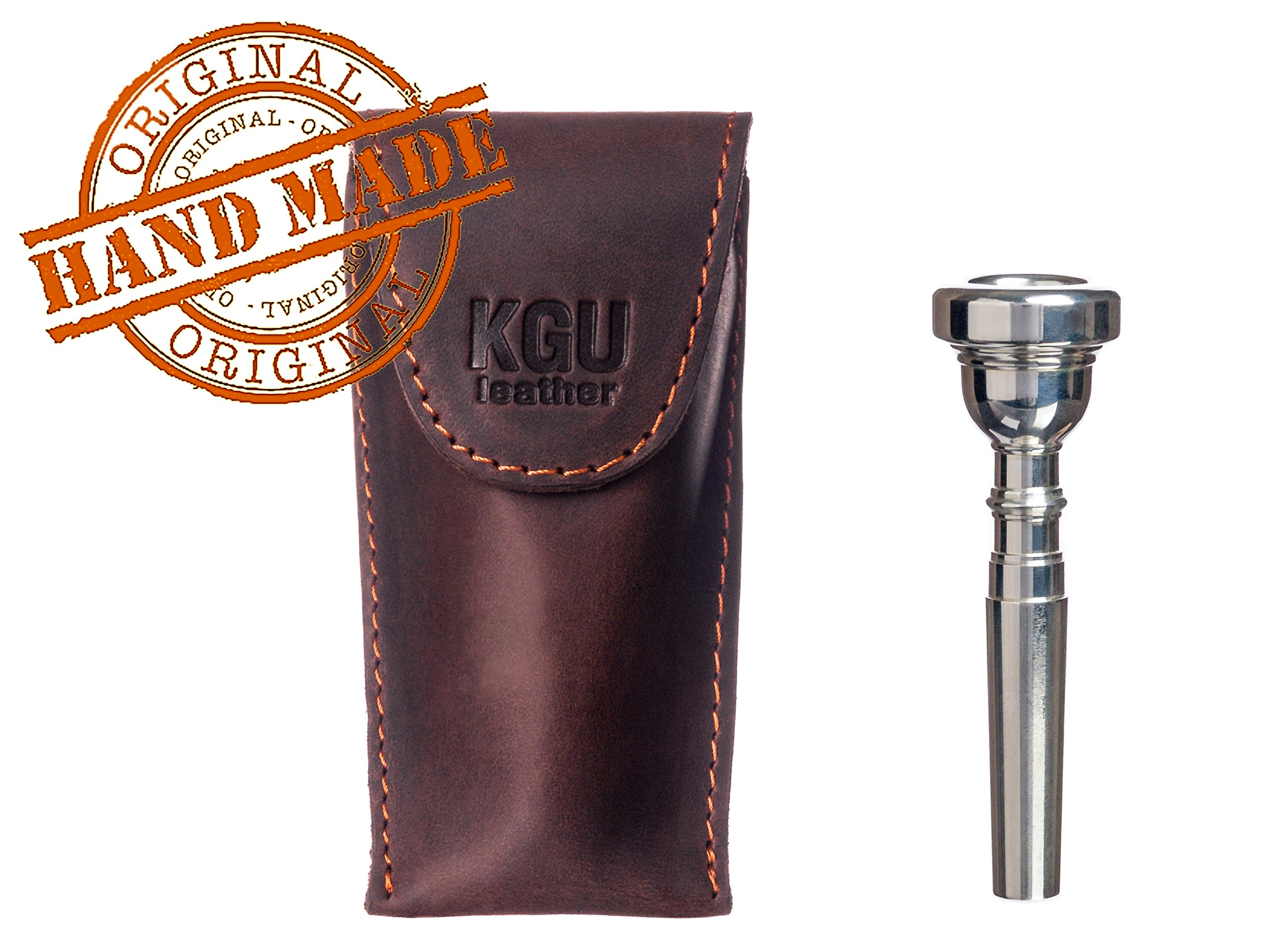Trumpet Mouthpiece Pouch KGUBrass, Vintage Brown Leather Handmade. with Secure Magnetic Snap Closure!