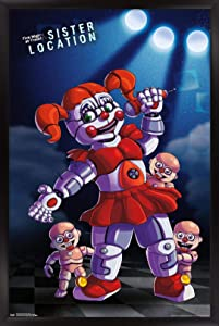 """Trends International Five Nights at Freddy's: Sister Location - Baby Wall Poster, 22.375"""" x 34"""", Black Framed Version"""