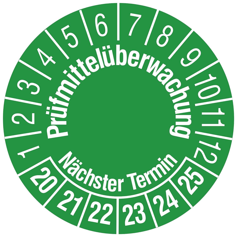 Labelident Prüfplaketten - Prüfmittelüberwachung/Nächster Termin, Mehrjahresprüfplakette, Zeitraum 2020-2025, Ø 30 mm, 144 Stück, Dokumentenfolie grün, Aufdruck weiß